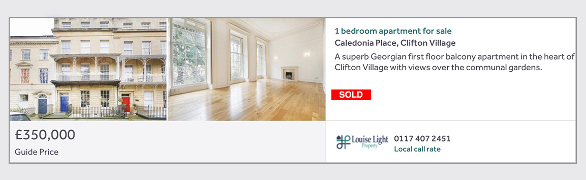 sold 1 bed apartment