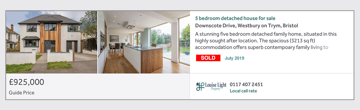 sold properties westbury on trym